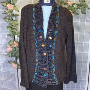CURIO ANTHROPOLOGY NAVY/BROWN BOUCLE CARDIGAN XL